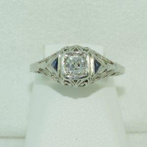 Estate Minor Cut Diamond with Blue Sapphire in 18k White Gold circa 1900's