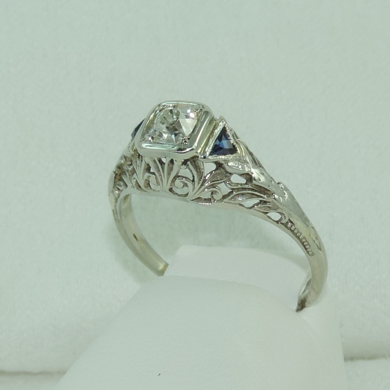 Estate Minor Cut Diamond with Blue Sapphire in 18k White Gold circa 1900's