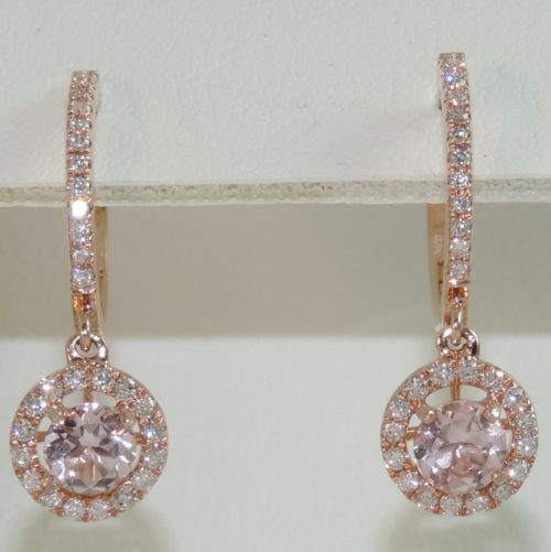 Morganite and Diamond in Rose Gold Halo Dangle Earrings