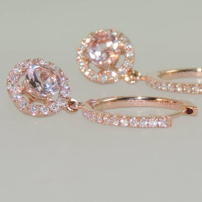 Morganite and Diamond in Rose Gold Halo Dangle Earrings side