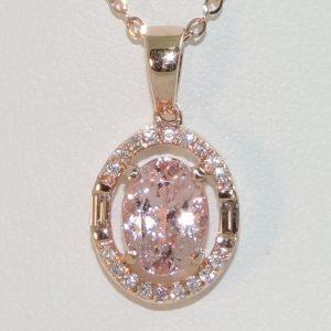 Morganite and Diamond in Rose Gold Oval Halo Pendant