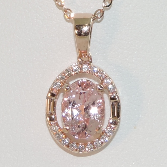Morganite and Diamond in Rose Gold Oval Halo Pendant