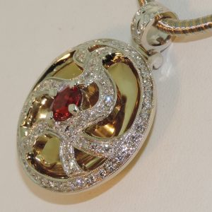 Red Spinel and Diamond Hologram Pendant