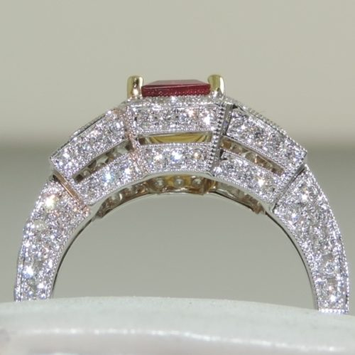 Ruby Square Cut and Diamond Ring
