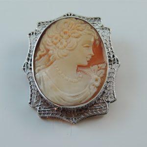 14k White Gold Vintage Antique Italian Shell Cameo in Filigre