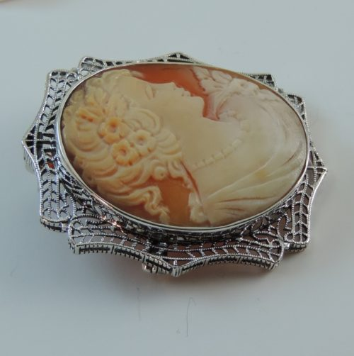 14k White Gold Vintage Antique Italian Shell Cameo in Filigre Setting
