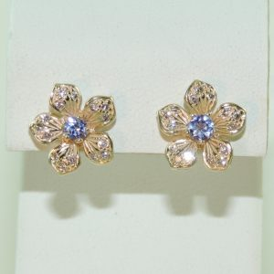 14k Yellow Gold and Tanzanite and Diamond Estate Flower Earrings