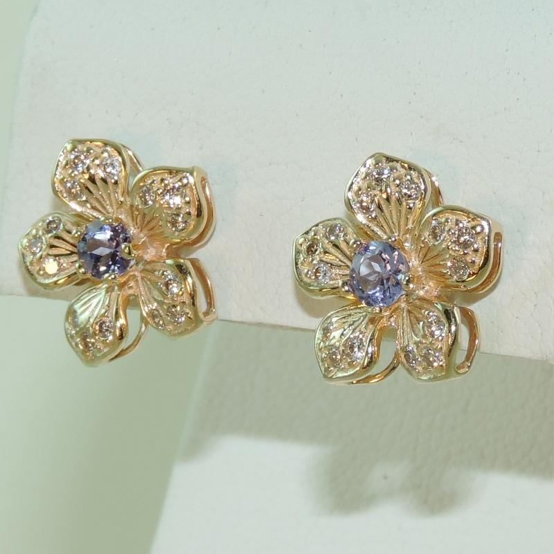 14k Yellow Gold And Tanzanite Diamond Estate Flower Earrings