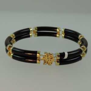 Buy Black Jadeite Bracelet with 14kYellow Gold