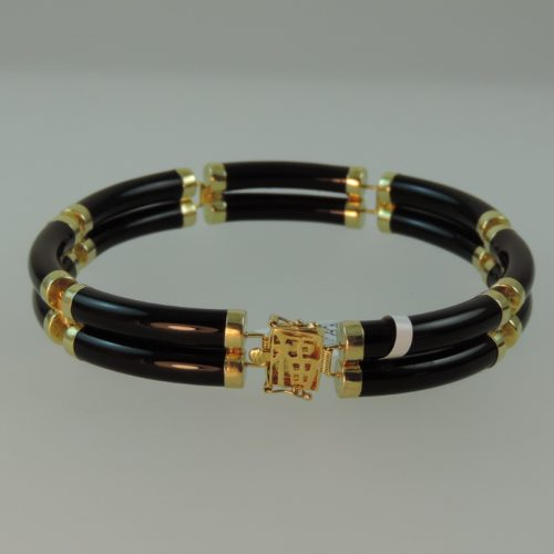 Buy Black Jadeite Bracelet with 14kYellow Gold