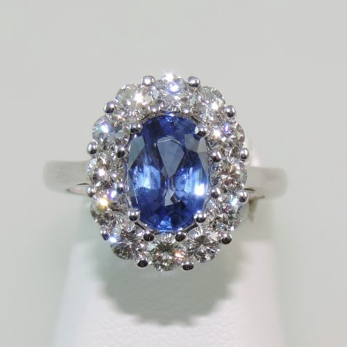 Blue Ceylon Sapphire and Diamond Halo Ring