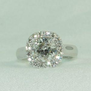 Custom Cushion Shape Round Diamond Halo Ring