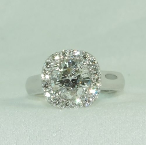 Custom Cushion Shape Round Diamond Halo Ring