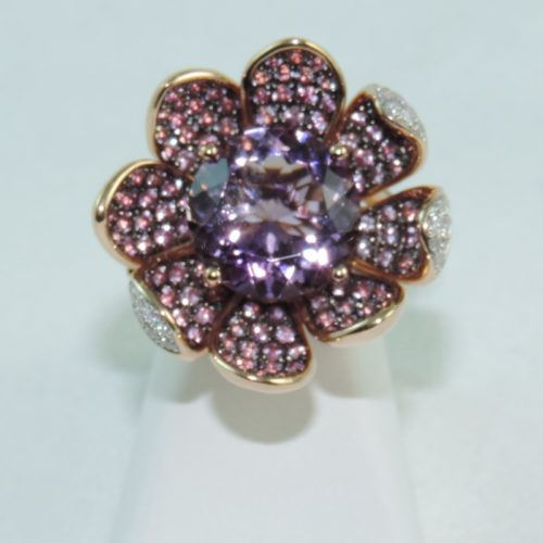 DSCN9569 amethyst and pink tourmaline flower ring