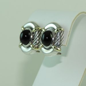 David-Yurman-Black-Onyx-and-18k-yg-and-Sterling-Silver-Earrings