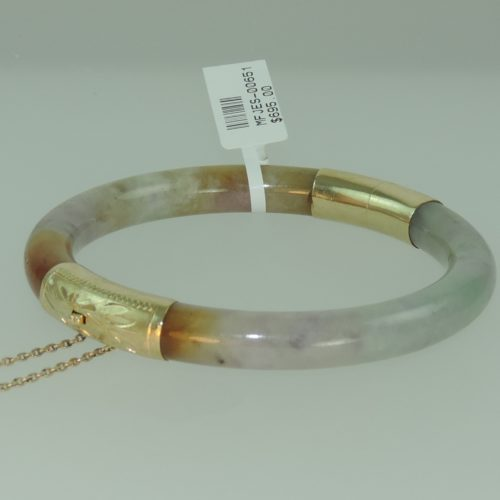 Lavendar Jadeite Hinged Bangle in 14k Yellow Gold