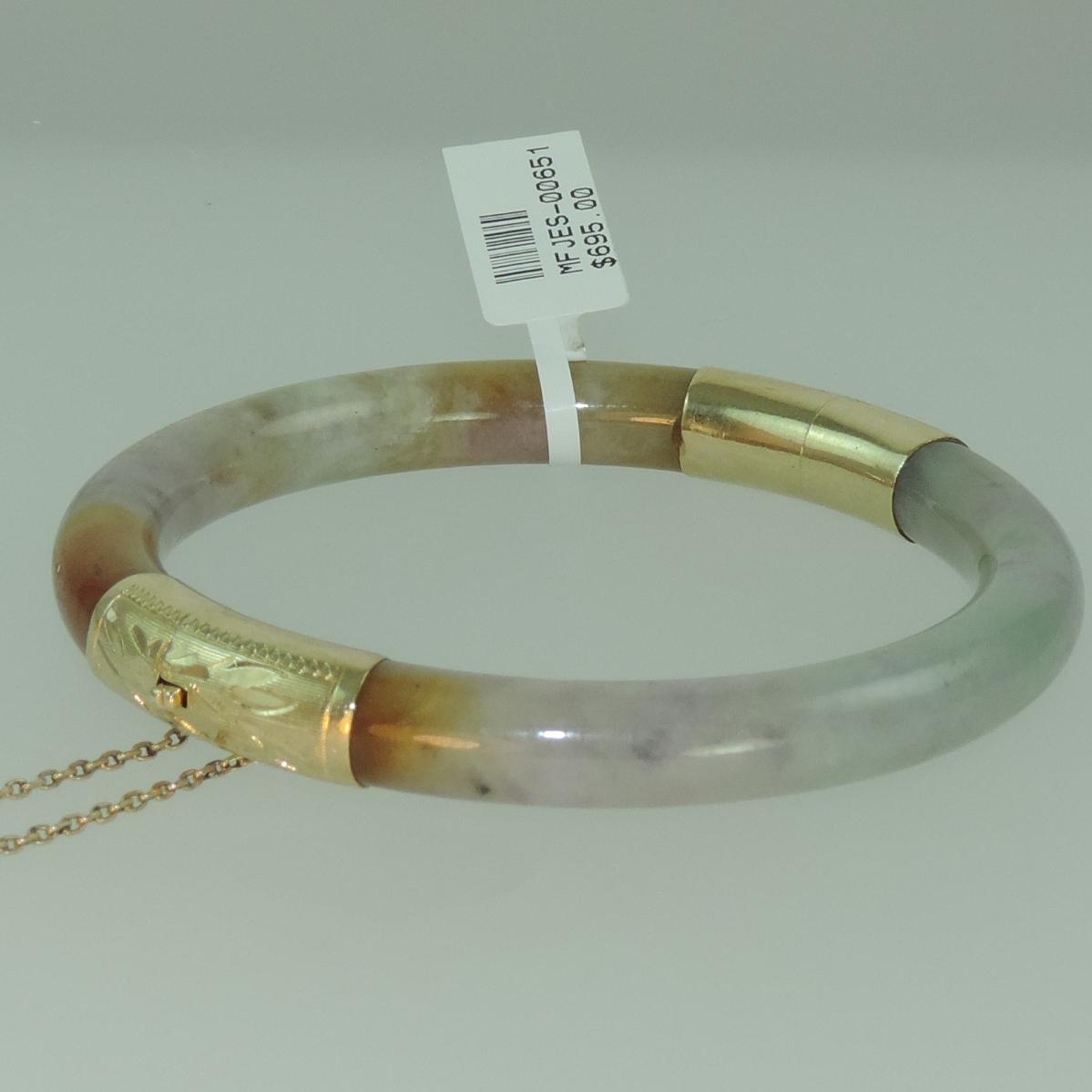 Lavendar Jadeite Hinged Bangle in 14k Yellow Gold