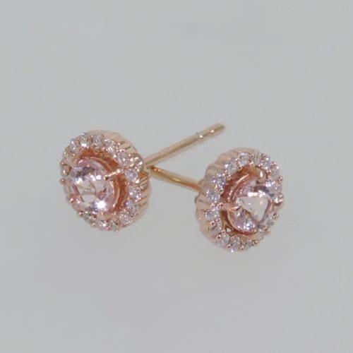 Morganite and Diamond Rose Gold Halo Earrings side 2
