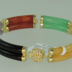 Mulit colored Jadite Jade Bracelet 14k Yellow Gold