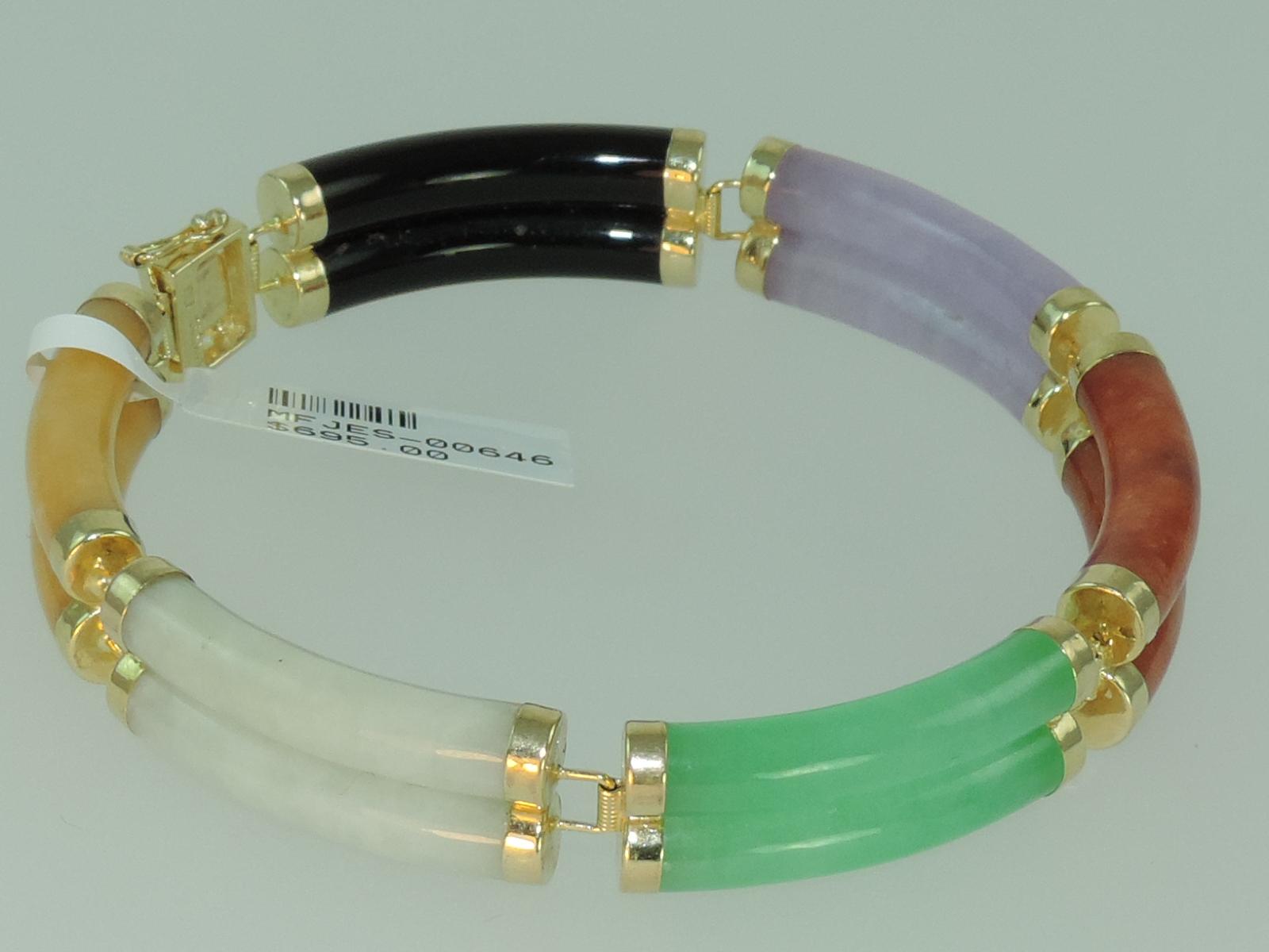 Mulit colored Jadite Jade Bracelet 14k Yellow Gold, Issaquah