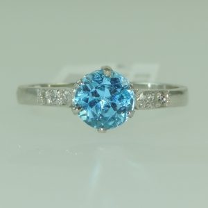Platinum Blue Zircon and diamond Estate Ring