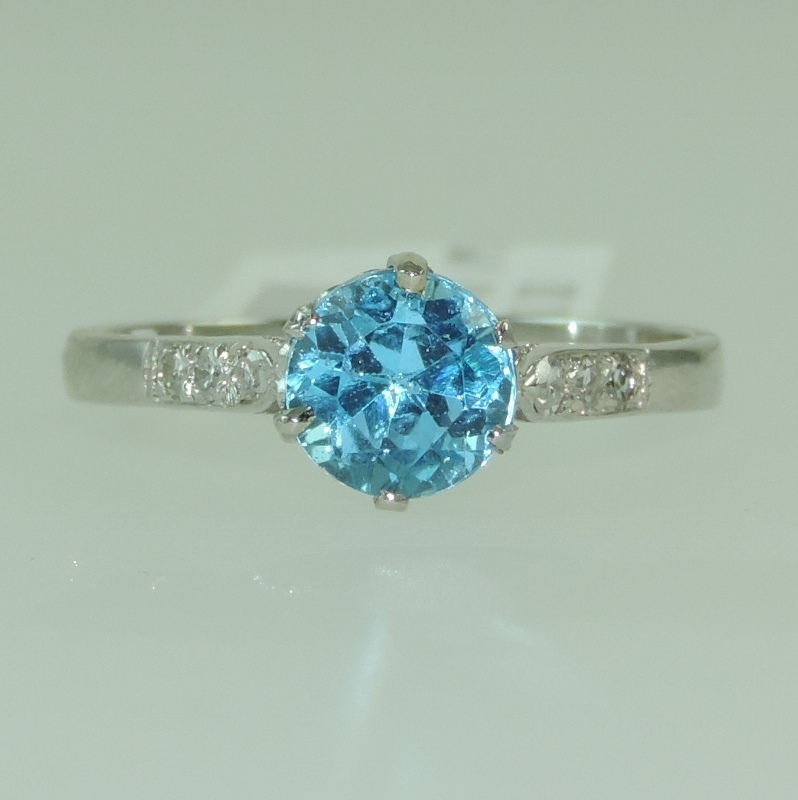 solitaire ring diamond jewelers guild platinum zircon blue product the