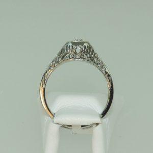 Platinum European Cut Diamond Estate Filigree Ring
