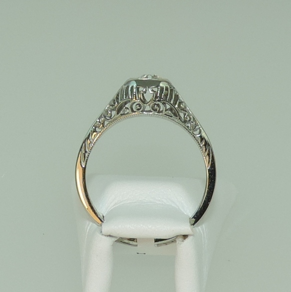 Platinum European Cut Diamond Estate Filigree Ring