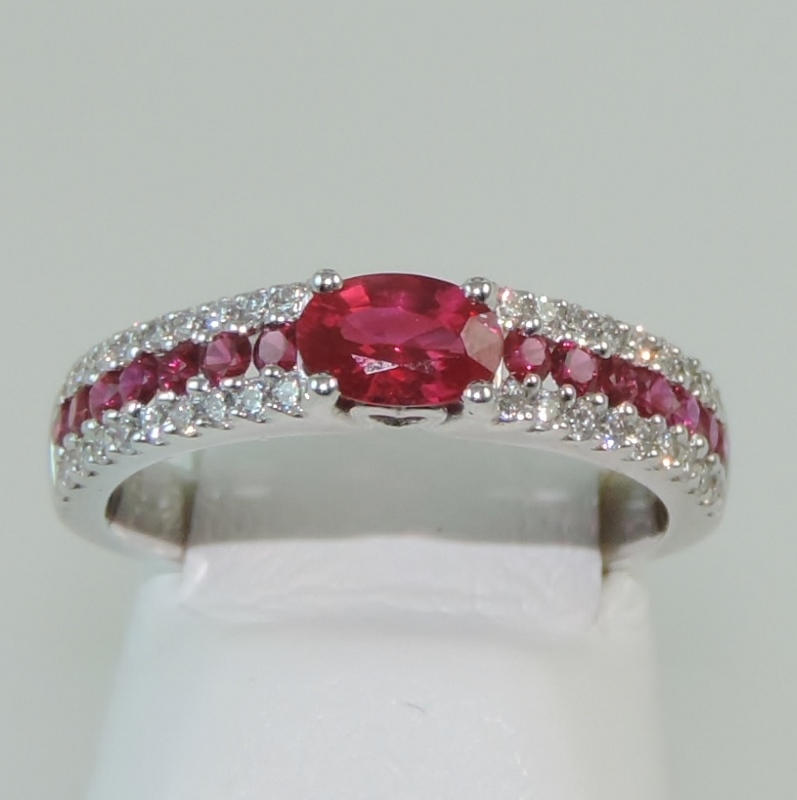 Red Ruby and Diamond Ring