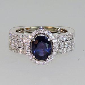 custom slip in sappire wedding ring