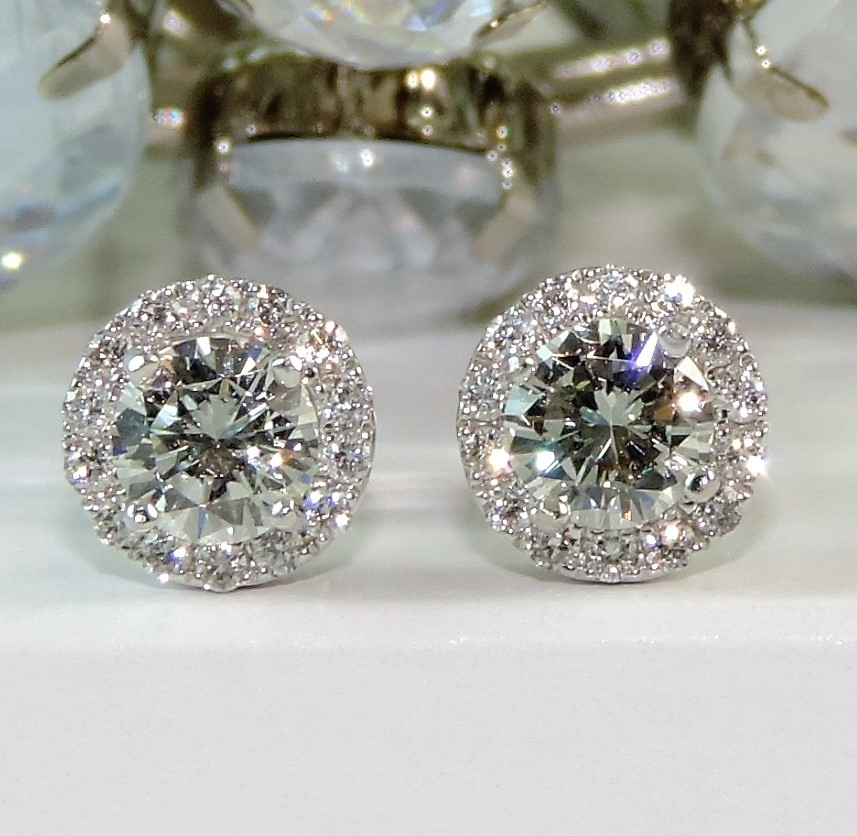 diamond stud halo earrings