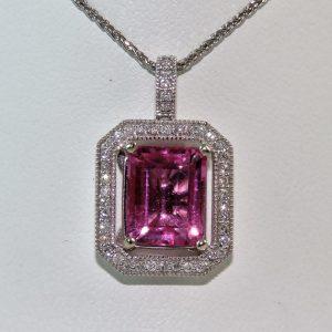 pink tourmaline emerald cut pendant